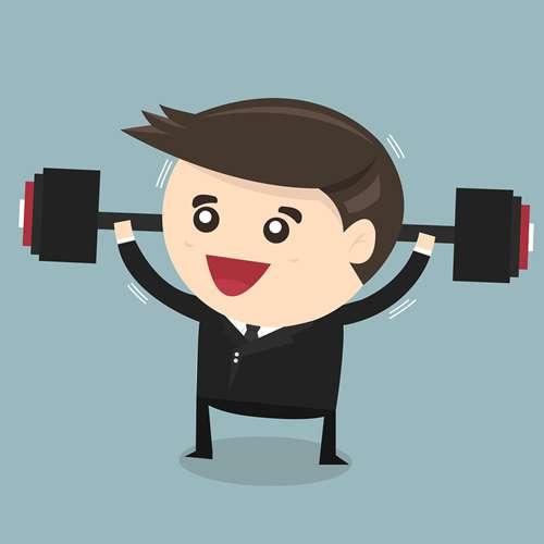 Businessman Lifting Weights